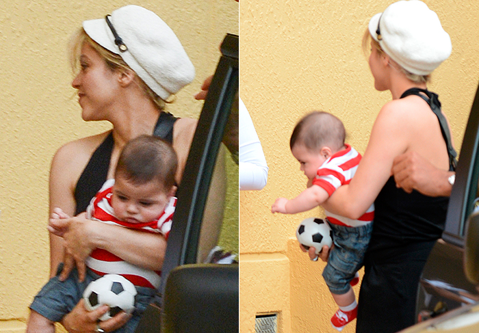 Shakira chega a hotel carregando Milan e uma pequena bola