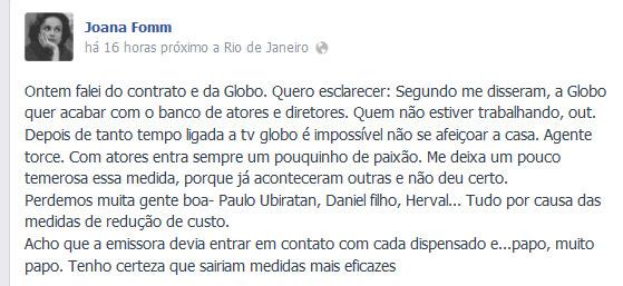 Após ser dispensada pela TV Globo, Joana Fomm faz desabafo