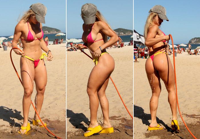 Ex-Miss Bumbum mostra o corpão na praia da Barra da Tijuca