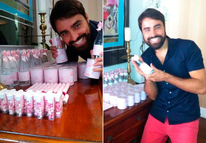 Ricardo Pereira exibe lembrancinhas do chá de bebê da filha
