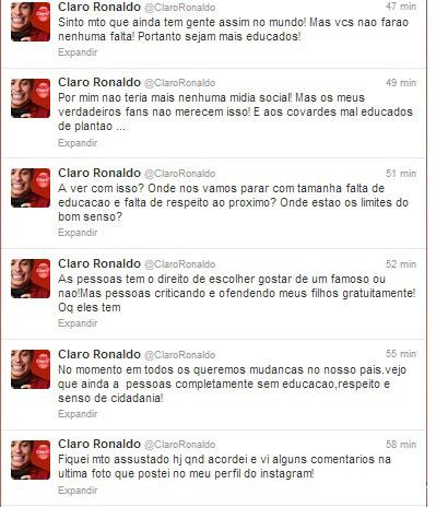 """Ronaldo se irrita com ofensa aos filhos e desabafa: """"Falta de respeito!"""""""