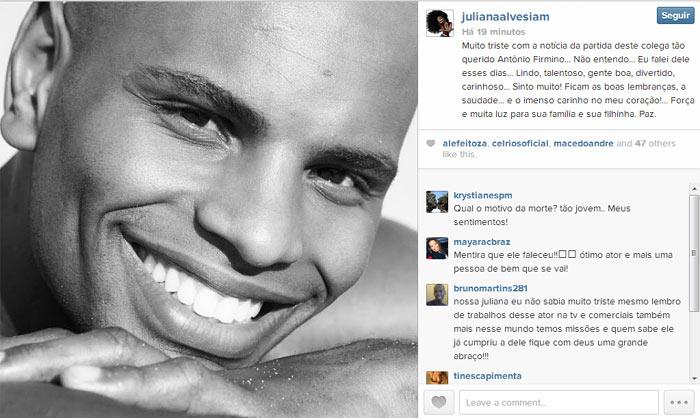 Mensagem da atriz Juliana Alves
