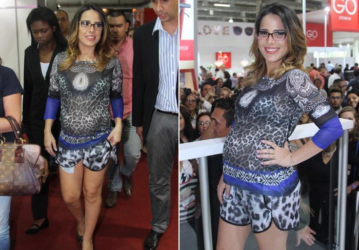 Wanessa usa look colado e destaca barriga de 7 meses em evento