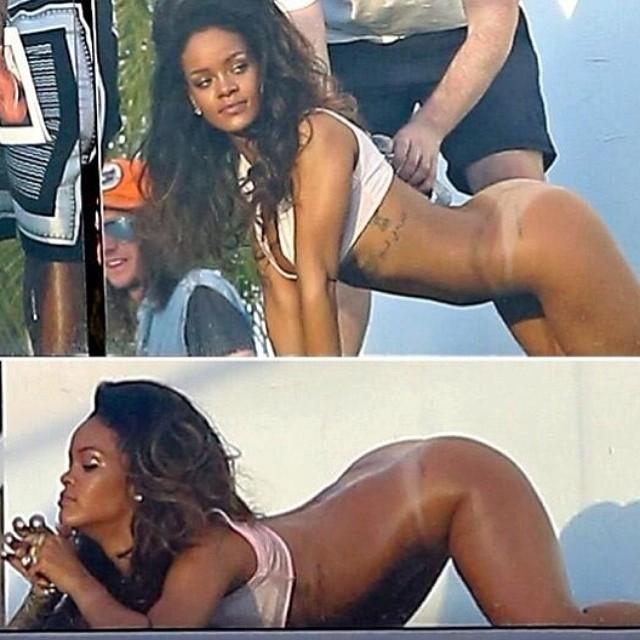 Rihanna fica de bumbum de fora para ensaio fotográfico