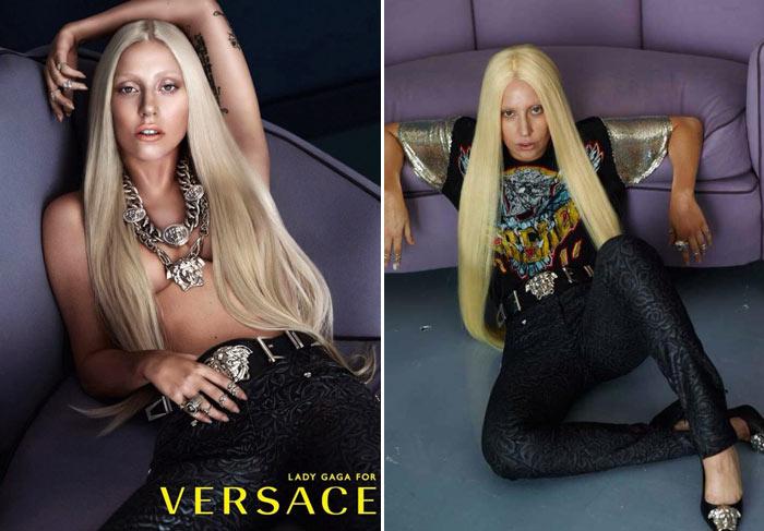 Gaga com e sem Photoshop