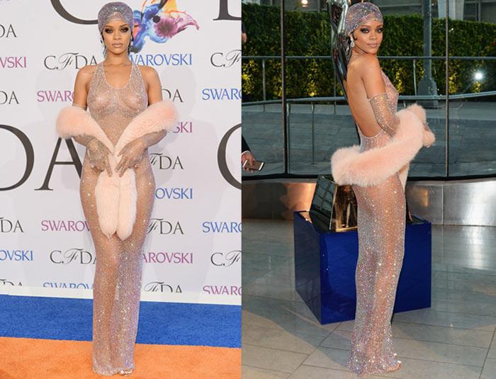 Sem sutiã! Rihanna vai a evento com look todo transparente