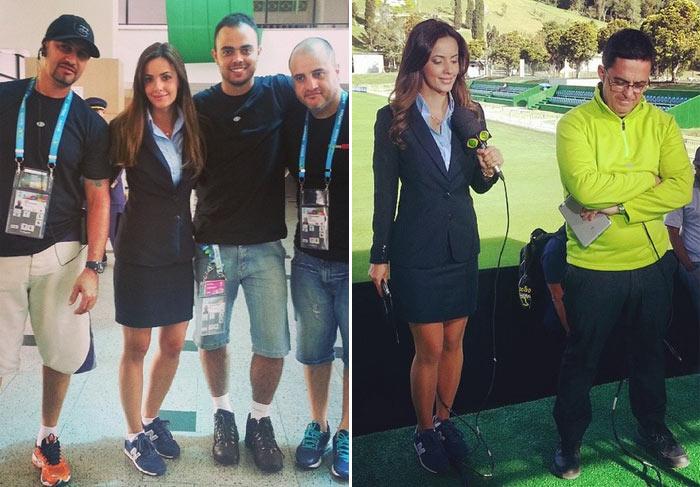 Apesar de terninho e saia, Paloma Tocci não dispensa tênis durante transmissões