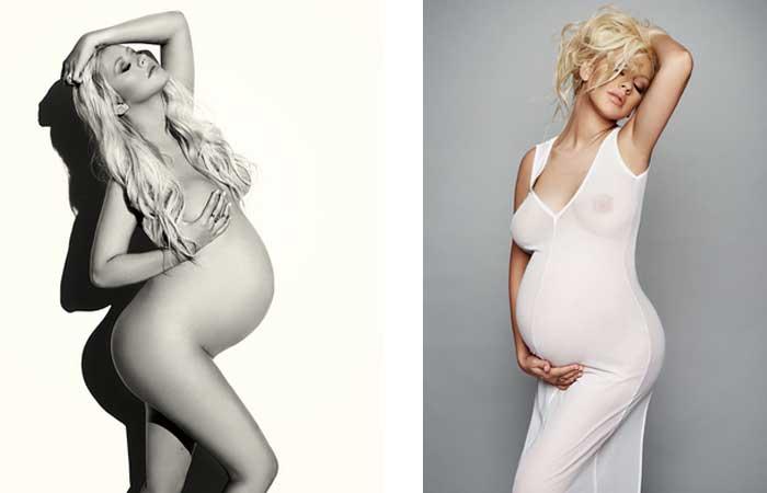 Christina Aguilera posa nua na reta final de sua segunda gravidez
