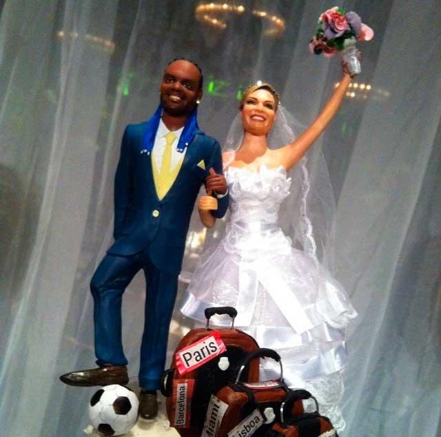Vagner Love se casa com Lene Pires, no Rio
