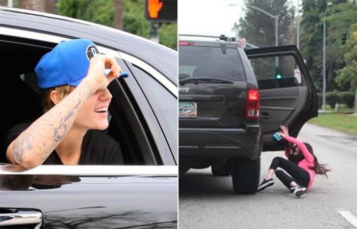 Fã de Justin Bieber cai de carro ao tentar persegui-lo