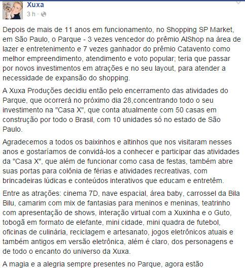 Xuxa fecha as portas de seu Parque, em São Paulo
