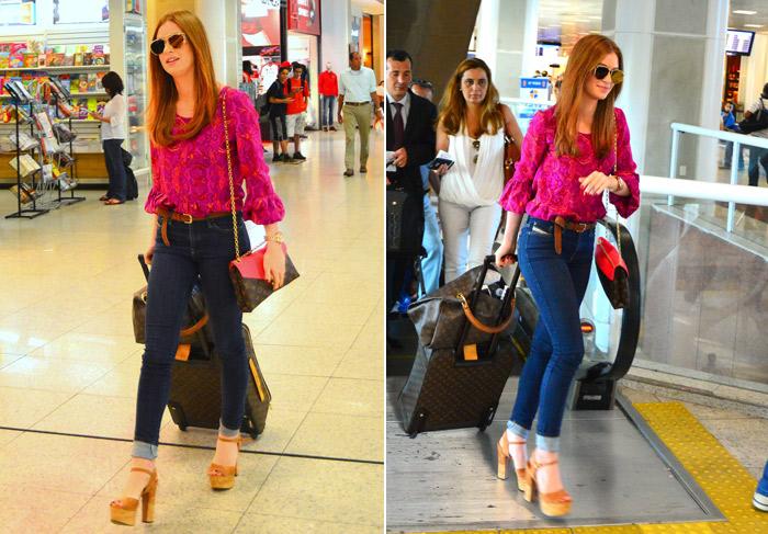 Grifada! Marina Ruy Barbosa usa bagagens e bolsa da Louis Vuitton para embarcar