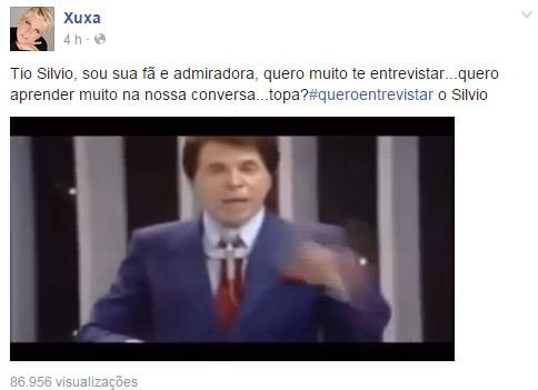 Xuxa faz apelo na internet para tentar entrevistar Silvio Santos