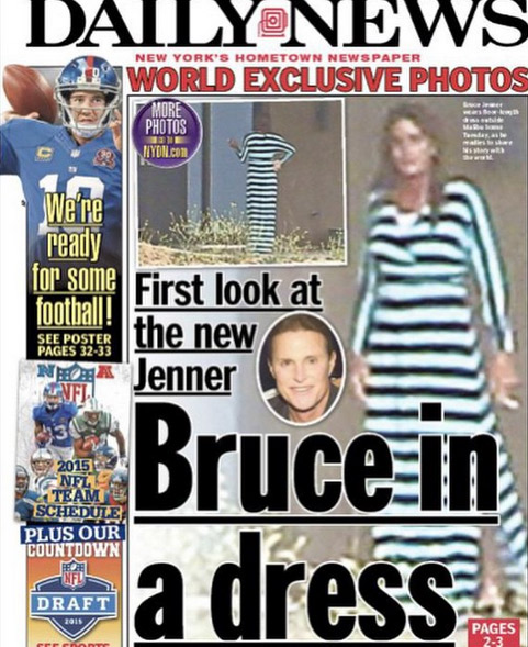 Supostas fotos de Bruce Jenner de vestido viram capa do Daily Mail