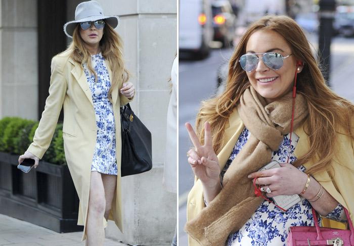 Simpática, Lindsay Lohan deixa boa forma em evidência durante passeio pro Londres