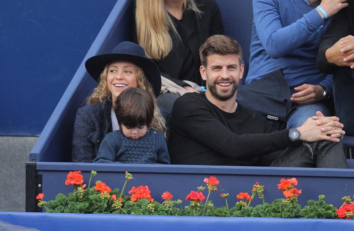 Shakira e Gerard Piqué acompanham partida de tênis em Barcelona, Espanha
