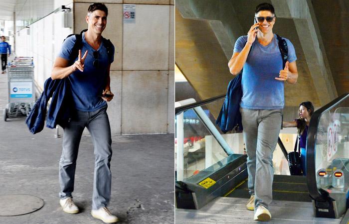 Reynaldo Gianecchini encanta com o seu sorrisão em aeroporto