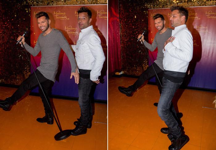 Ricky Martin faz graça ao conhecer seu clone de cera em museu na Austrália