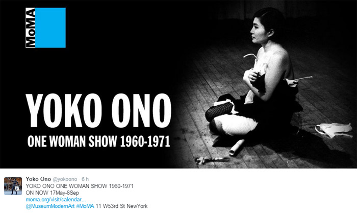 Yoko Ono inaugura sua exposição em Nova Iorque