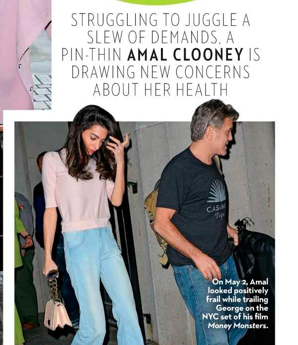 George Clooney está preocupado com a saúde de sua mulhe