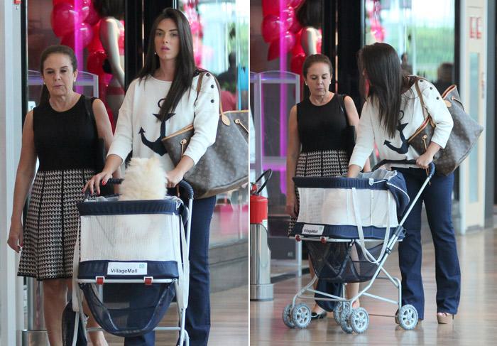 Nicole Bahls coloca pet em carrinho para passear no shopping