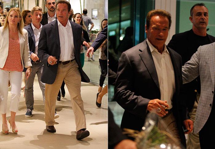 Arnold Schwarzenegger é cercado por fãs em shopping carioca - Foto Rio News