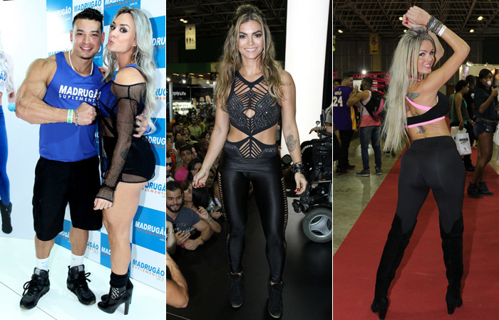 Gracyanne Barbosa exibe o corpão musculoso em feira fitness