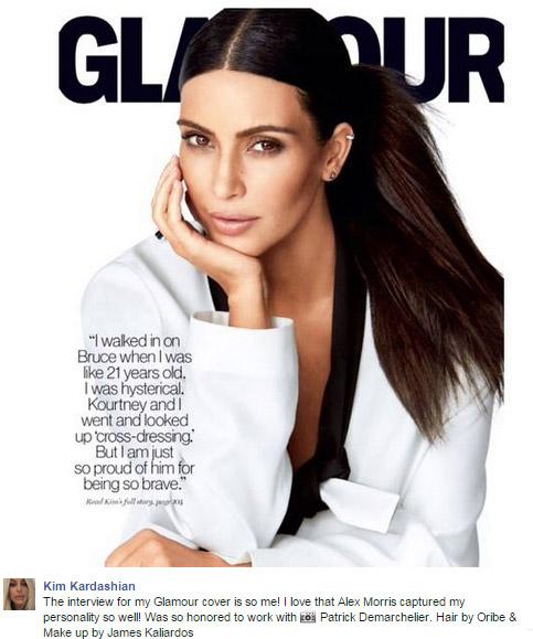 Kim Kardashian comenta capa de Bruce Jenner na Marie Claire