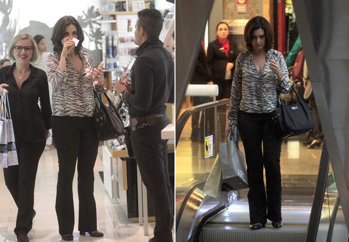 Fátima Bernardes tira o dia para fazer compras no Rio