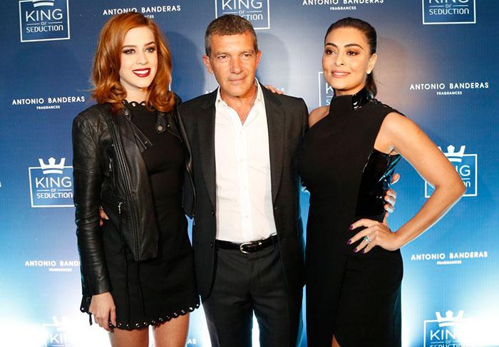 Sophia Abrahão, Antonio Banderas e Juliana Paes no lançamento de King of Seduction