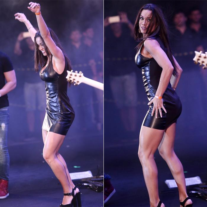 Com pretinho básico, Fernanda D'Ávila curte show em Recife