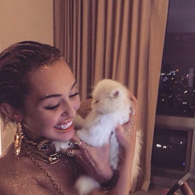 Miley Cyrus posa cheia de glitter no corpo