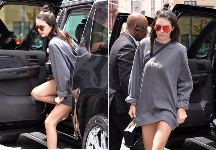 Kendall Jenner quase mostra demais em Nova York