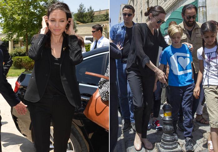 Angelina Jolie leva a filha em visita a campo de refugiados