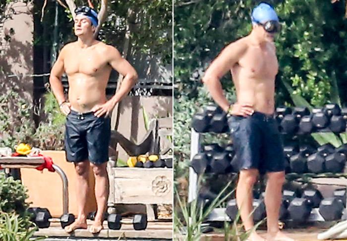 Orlando Bloom mostra o físico ao praticar natação