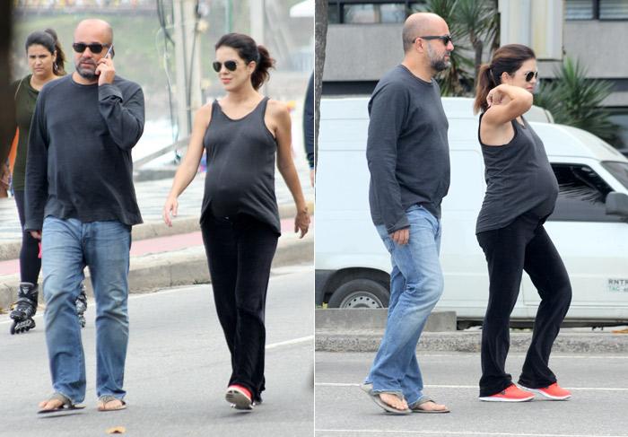 Apresentadora Mariana Gross exibe barrigão de grávida no Rio