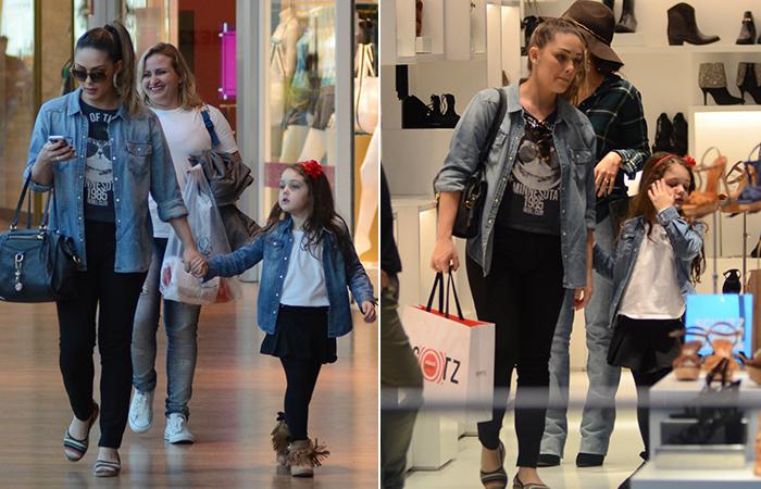 Com a filha, Tânia Mara faz compras em shopping do Rio