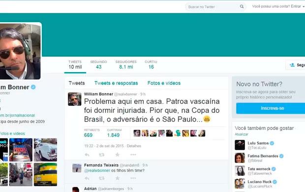 Bonner brinca com Fátima Bernardes após Vasco levar goleada