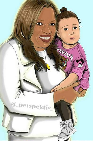 Fã presenteia Kanye West com retrato de sua mãe com North