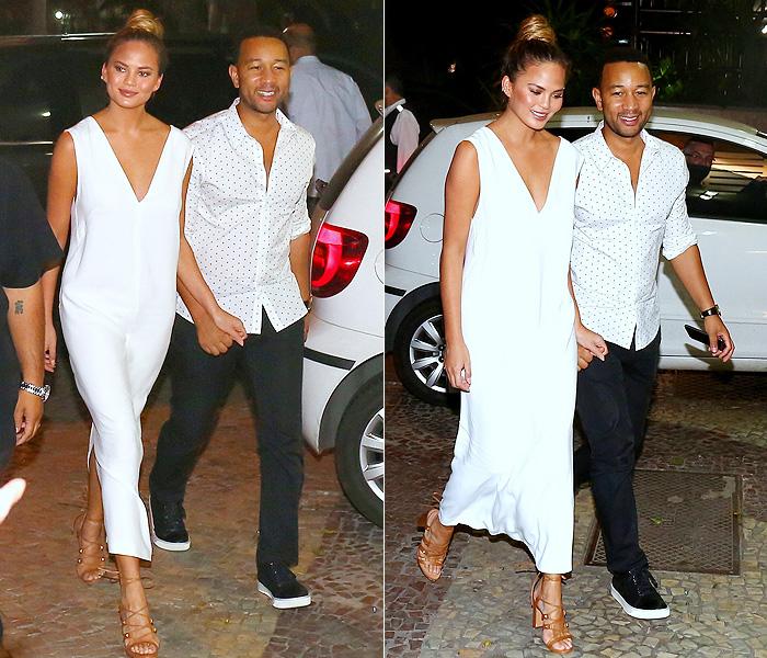 Após show no RiR, John Legend sai para jantar com a esposa