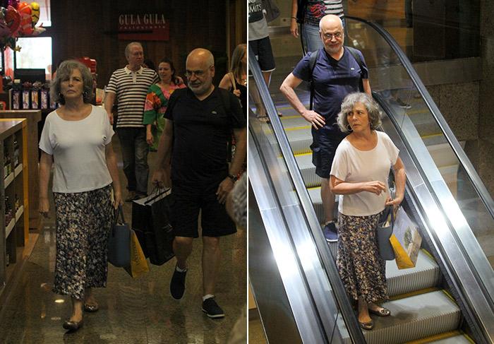 Irene Ravache passeia pelo shopping com o maridão
