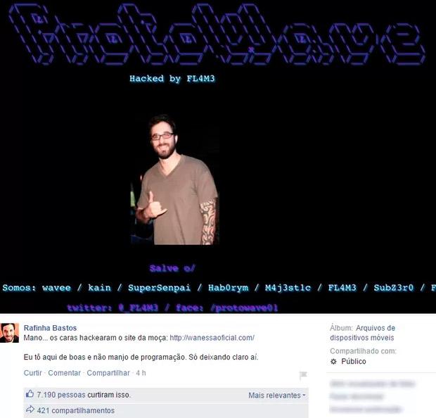 Site de Wanessa é hackeado com imagens de Rafinha Bastos