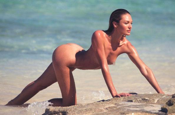 Candice Swanepoel posta foto nua e com pose provocante