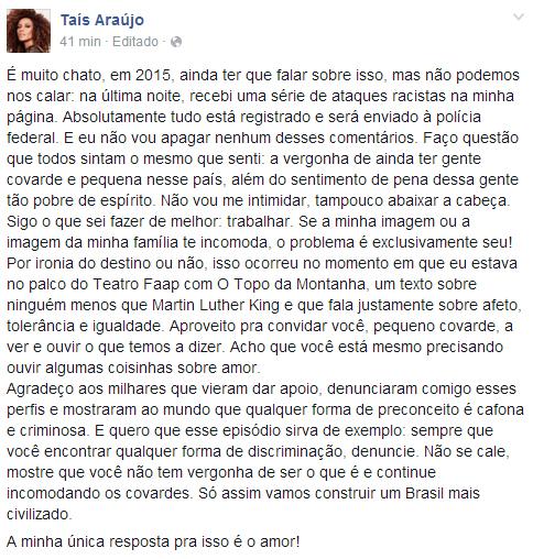 Taís Araújo é vítima de ataques racistas