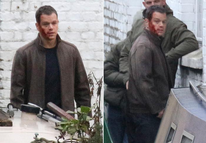 Matt Damon aparece 'sangrando' nas ruas de Londres