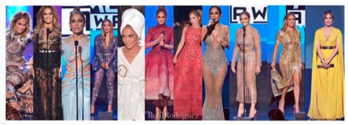 Jennifer Lopez faz 11 trocas de figurino em premiação