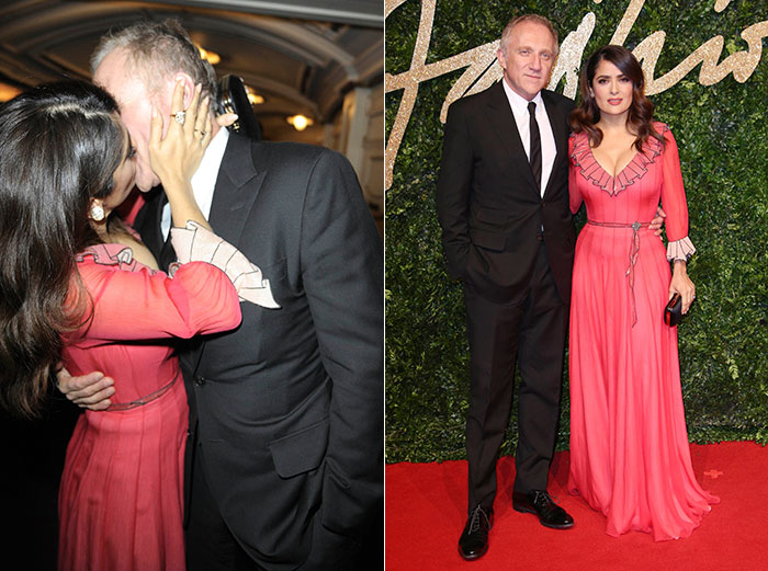 Salma Hayek dá beijão no marido em premiação