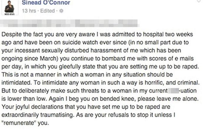 Após tentar suicídio, Sinead O'Connor chama filhos e irmã de assassinos