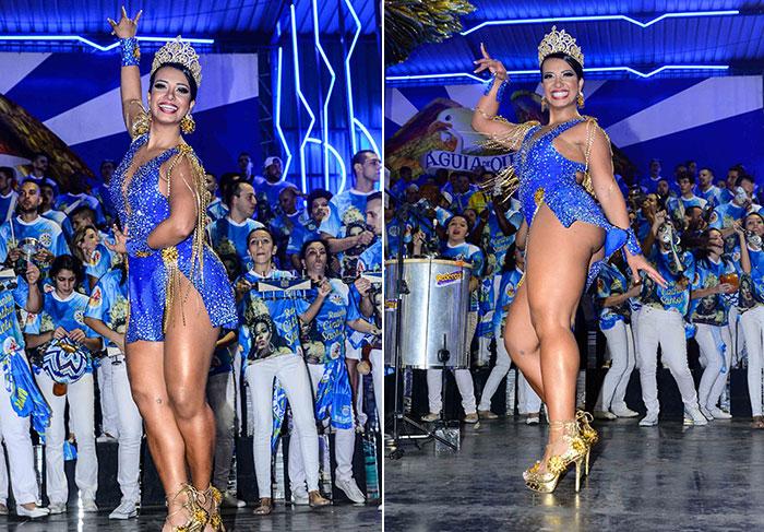 Cinthia Santos exibe corpão e pernas torneadas em samba