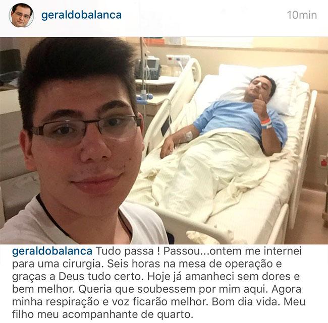 Geraldo Luis passa por cirurgia